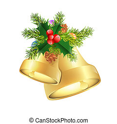 Christmas Bells With Berries and Fir Tree Branches