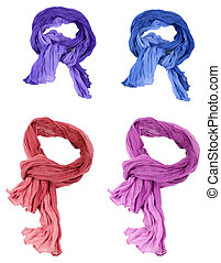 set of cotton scarfs isolated on a background