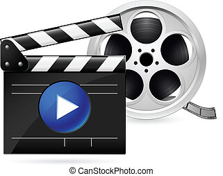 Movie clapboard and reel of film - Open movie clapboard and...