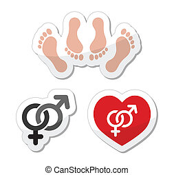 Couple sex, making love icons - Sex, relationship concept -...