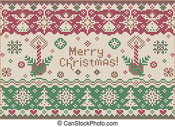 Merry Christmas. Knitted style - Fashionable New Year...