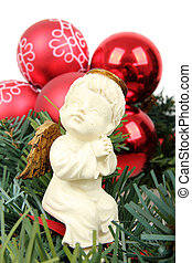 Ceramic Angel with green branch and red bauble