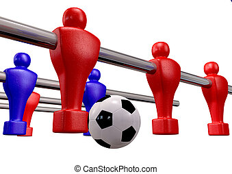 Foosball Kickoff Front Isolated - Foosball players of a blue...