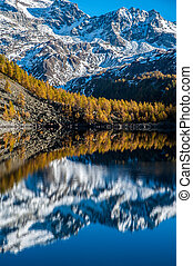 Unspoilt landscape of mountains reflected in the lake below,...