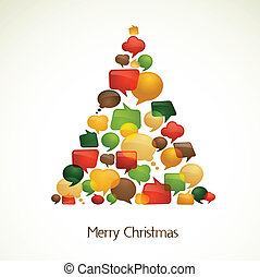 Christmas tree with abstract speech bubbles - abstract...