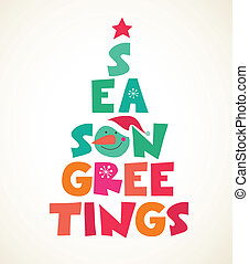 Christmas tree with season greetings cute cutout text -...