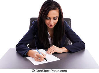 Closeup portrait of a beautiful latin businesswoman writing...