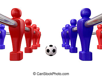 Foosball Kickoff Isolated - Foosball players of a blue and...