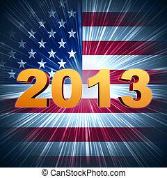dourado, ano, 2013, sobre, brilhar, americano, bandeira