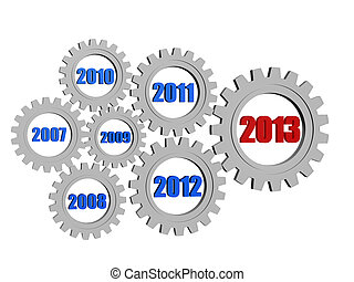 new year 2013 and previous years in gearwheels - 3d silver...