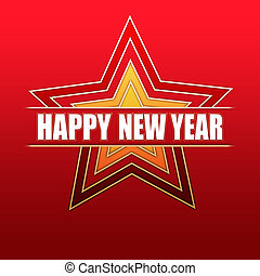 Happy New Year in red stars
