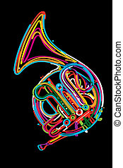 French horn instrument design in colors