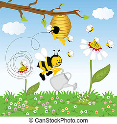 Bee watering flower in the forest - Image representing a bee...