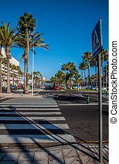 Pedestrian crossing on a side street near the beach in Tenerife