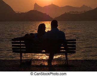 namorados, pôr do sol, Rio, Janeiro