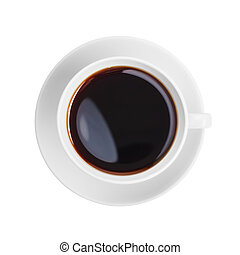 coffee cup top view isolated on white
