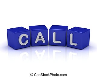 CALL word on blue cubes