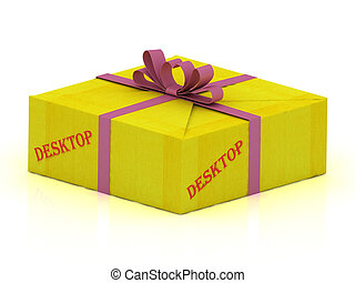DESKTOP stamp on gift box wrapped yellow paper, illustration...
