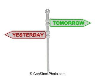 "Signs with red ""YESTERDAY"" and green ""TOMORROW"" pointing in..."