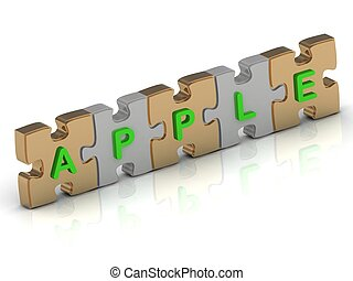 APPLE word of gold puzzle and silver puzzle on a white...
