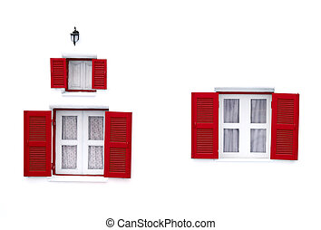 red Greek Style windows and lamp on white wall