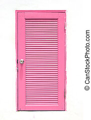 pink Greek Style door on wall