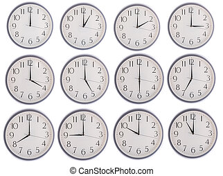collection of clock from 12 to 11 isolated in white...