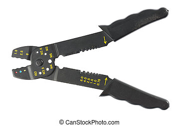 Crimping tool - Black crimping tool in front of white...