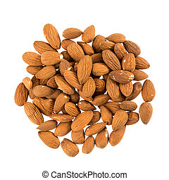 Almonds in front of white background