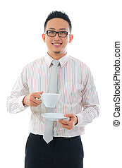 asian business man with coffee - happy asian business man...