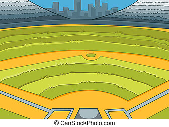 Baseball Stadium Vector Cartoon Background EPS 10