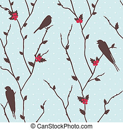 Merry Christmas card with birds - Cute vector merry...
