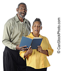 Singing Senior Couple - A happy senior African American...