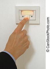 pressing doorbell - hand pressing doorbell