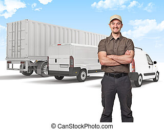 delivery man - smiling man crossed arms and truck background