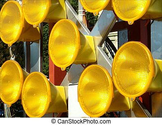Signal lights for the road work sign