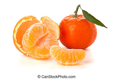 Ripe tangerines with green leaf - Ripe tangerines segments...