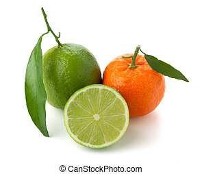 Limes and tangerine Isolated on white background