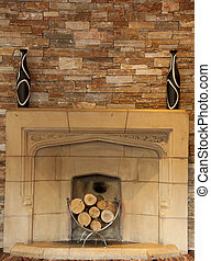 fire place with wood