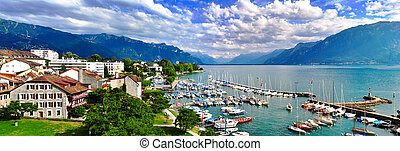 Swiss lake panorama - High angle panorama of swiss lake...