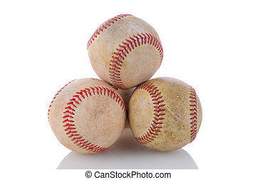 Stack of Used Baseballs - Closeup of a stack of well used...