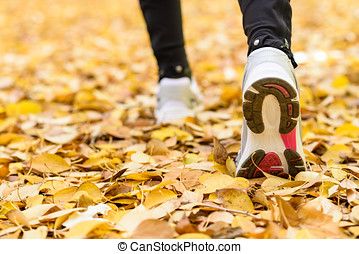 Sport jogging concept - Sport and walking outside concept....