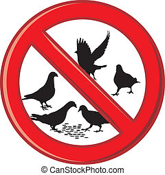 Ban on feeding pigeons - Symbol ban on feeding pigeons,...