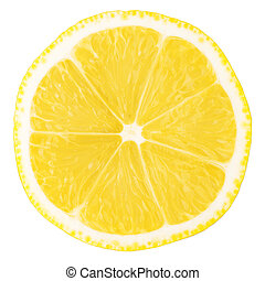 Macro food collection - Lemon slice. Isolated on white...