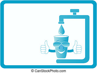 cartoon smile glass and tap water - visiting icon with...