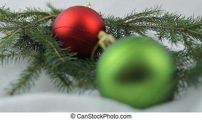 Red and green Christmas bulbs