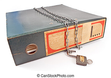 Old office folder with unlocked padlock and chain