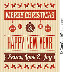 Vintage Christmas Design - Retro style Christmas greeting...