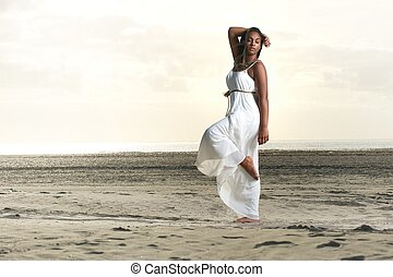 Inner Peace - Beautiful african american girl in a white...