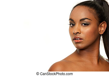 Beauty of a Dark Skinned Girl - Landscape composition of an...